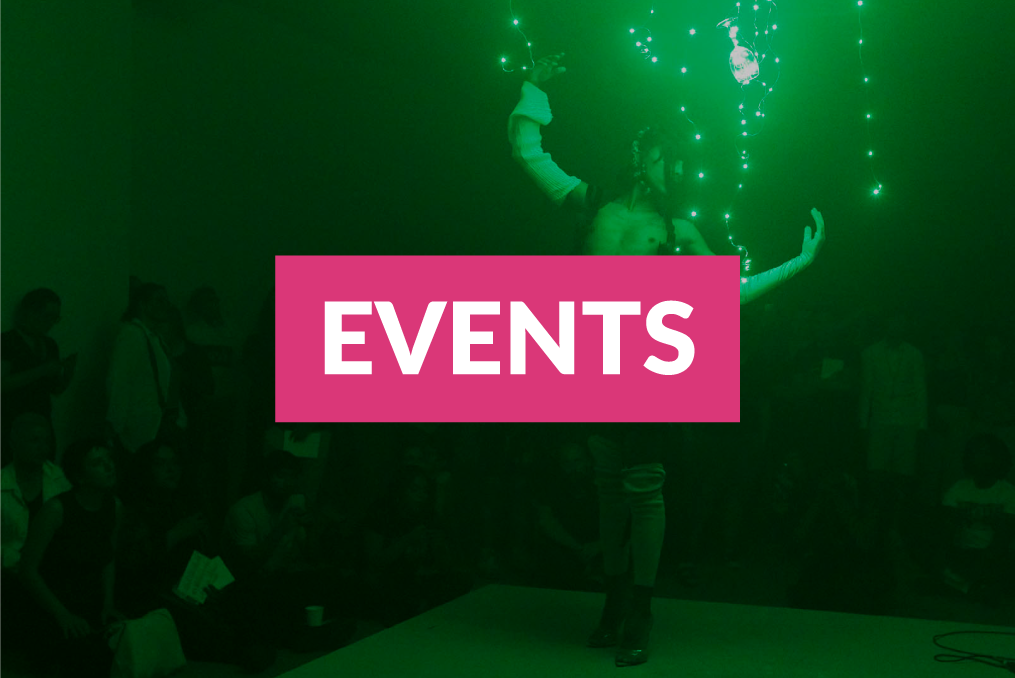 """Events"" link over a photograph of a performance artist posing elegantly in a green light."