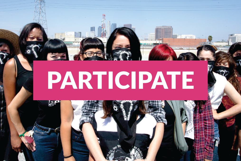 Participate link infront of an image of women with bandanas over their faces.